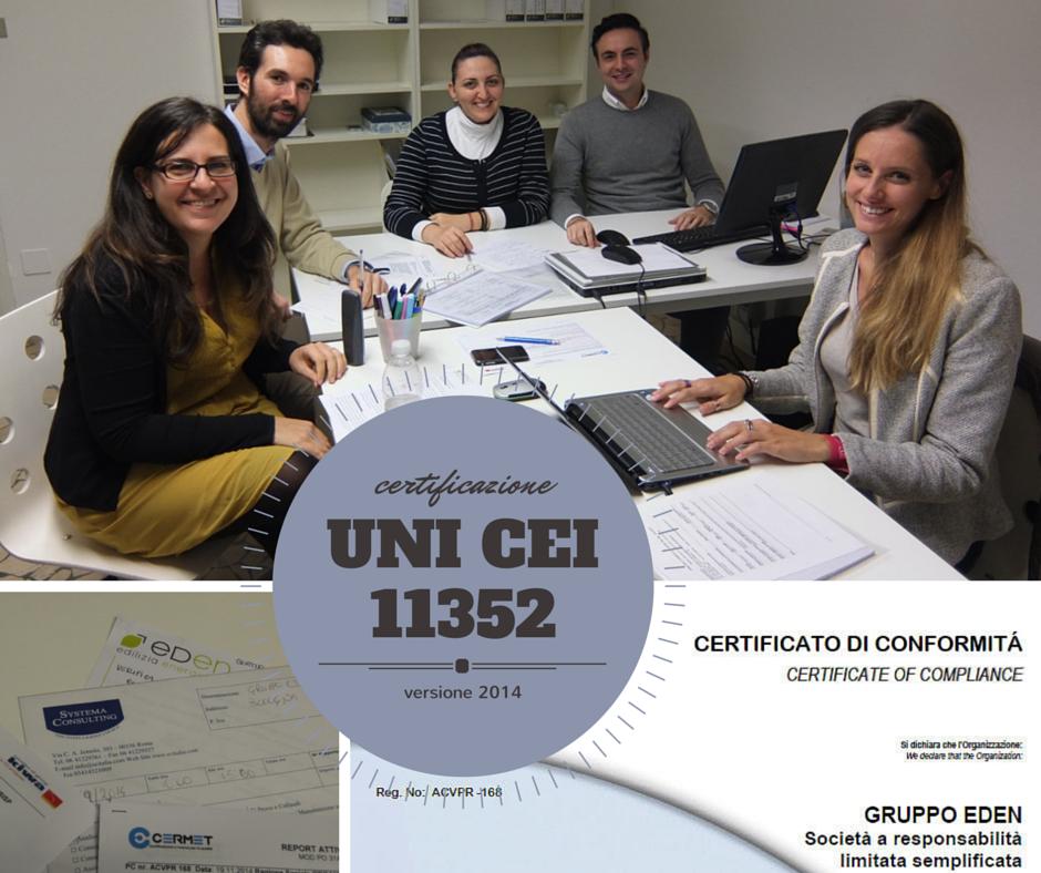 Certificazione UNI CEI 11352 Gruppo Eden