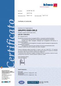 abbiamo ricevuto la certificazione UNI CEI 11352:2014